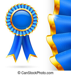 Blue award ribbon - Shiny blue award ribbon with golden...