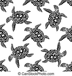 Marine turtles seamless background pattern - Black and white...
