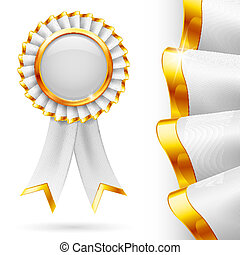 White award ribbon - Shiny white award ribbon with golden...