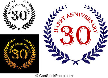 Happy 30th anniversary emblem with a foliate laurel wreath...