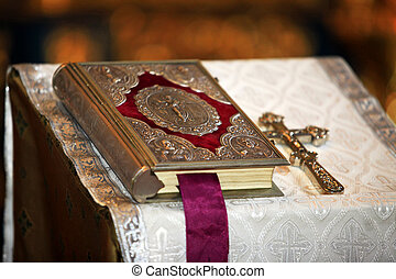Holy Bible - The concept with the bible and a cross