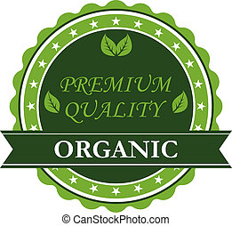 Organic Premium Quality label - Green colored circular...