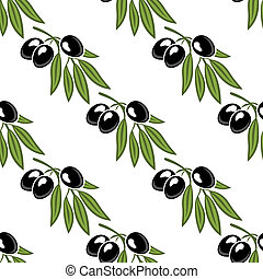 Seamless pattern of a leafy olive branch with three ripe...