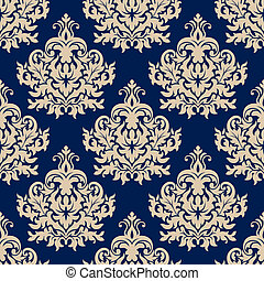 Blue damask seamless pattern with beige flourishes - Damask...