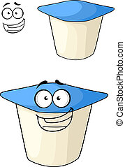 Cheeky cartoon yoghurt with a happy smile - Cheeky white and...
