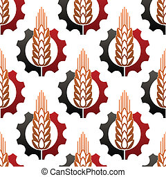 Wheat and a cog wheel seamless pattern - Ripe ear of wheat...