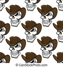 Skull in a stetson seamless pattern - Skull in a stetson or...