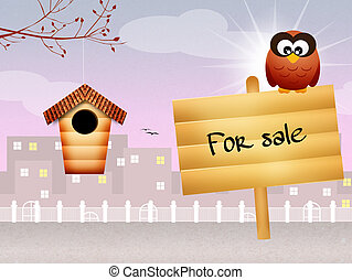 home for sale - illustration of home for sale