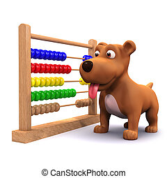 3d Puppy dog and abacus - 3d render of a puppy dog with an...