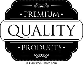 Black Premium Quality label - Black colored Premium Quality...