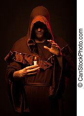 misterio, retrato, monje