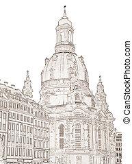 Dresden Frauenkirche - a graphic of the Dresden...