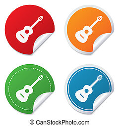Acoustic guitar sign icon. Music symbol. Round stickers....