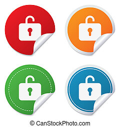 Lock sign icon. Login symbol. Round stickers. Circle labels...