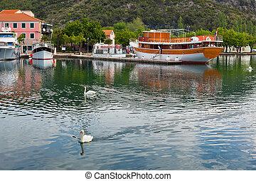 Touristic boat and swans in Skradin, Croatia. Horizontal...