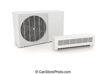3d air conditioning unit on white background