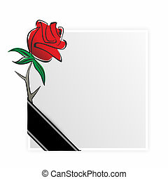 grief - obituary template with rose and black ribbon