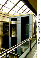 Elevator in modern and futurist building