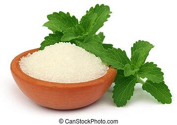 Stevia, azúcar, marrón, tazón