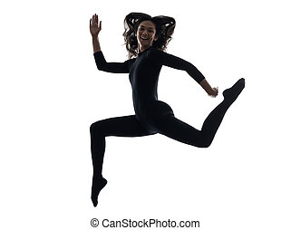woman exercising running jumping silhouette