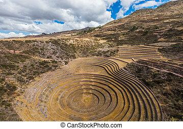 Moray ruins peruvian Andes Cuzco Peru - Moray, Incas ruins...