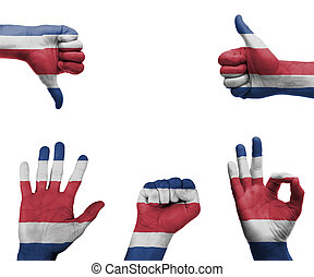 Hand set with the flag of Costa Rica