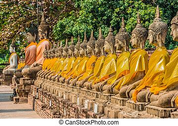 aligned buddha statues Wat Yai Chai Mongkhon Ayutthaya...