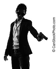 asian gunman killer portrait shooting silhouette - one asian...