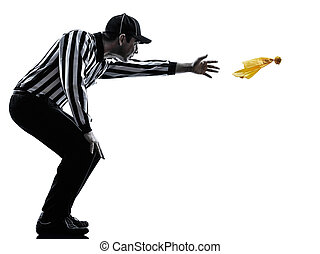 american football referee throwing yellow flag silhouette -...
