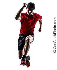 runner jogger running jogging jumping silhouette - one young...
