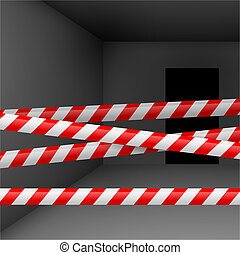 Dark room with danger tape - Dark room with red and white...