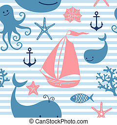 Seamless pattern with cute whales, sailing - Seamless...