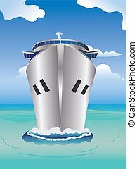 Cruise Liner in the Sea - Luxury cruise ship, view from...