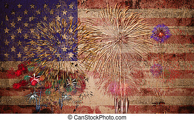 United States of America USA Flag with Fireworks Background...
