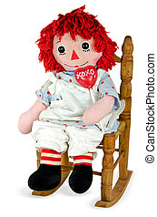 old rag doll with heart lollipop - Old rag doll in wooden...