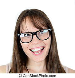 Excited woman looking sideways screaming of joy isolated on...