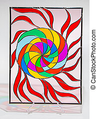 Stained glass - sun - Photo of hand made stained glass with...