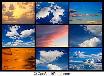 Collage of many images of sky with clouds