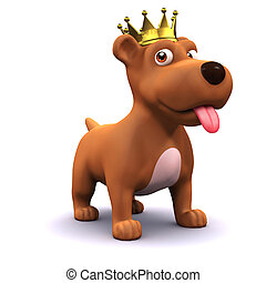 3d Puppy dog gold crown champion - 3d render of a puppy dog...