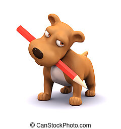 3d Puppy dog with pencil in mouth - 3d render of a puppy dog...