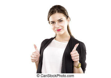 Attractive brunet business woman with thumb up isolated on...