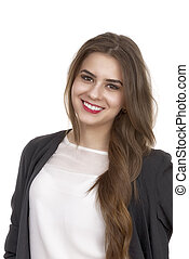 Portrait of a cute young business woman smiling, in an office en