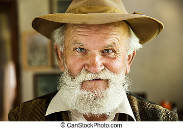 Old farmer - Portrait of old farmer with beard and hat