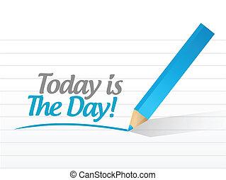 hoje, Dia, sinal, mensagem, Ilustração,...