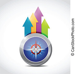 compass and business arrows illustration design over a white...