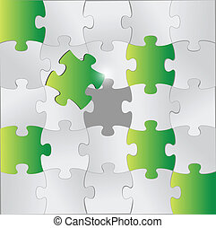 green and grey puzzle pieces illustration