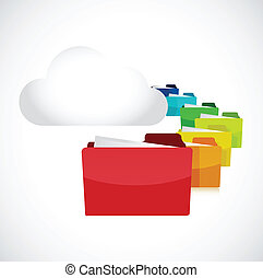 white cloud and set of folders. illustration design over a...