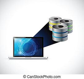 laptop computer big data storage illustration design over a...