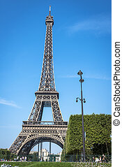 Eiffel Tower view from Champ de Mars in Paris, France