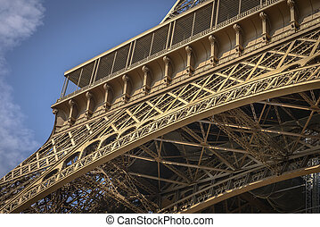 Architectural Detail of Eiffel Tower in a clear summer day